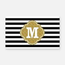 Mod Black White Stripes Pattern Gold Mongram Recta