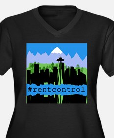 Rent Control Women's Plus Size V-Neck Dark T-Shirt