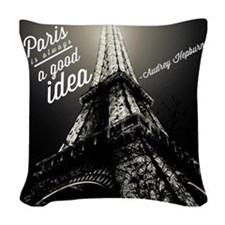 Audrey Hepburn Paris Woven Throw Pillow