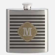 Mod Black White Stripes Pattern Gold Mongram Flask
