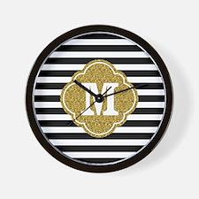 Mod Black White Stripes Pattern Gold Mongram Wall