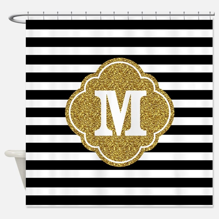 Black And Gold Striped Shower Curtains   Black And Gold ...