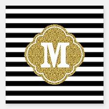Mod Black White Stripes Pattern Gold Mongram Squar