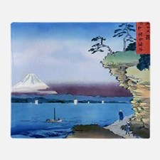 Cliff Bluff View Mt Fuji, Throw Blanket