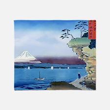 Cliff Bluff View Mt Fuji, Throw Blanket