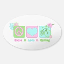 Peace Love and Cycling Decal
