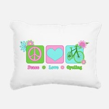 Peace Love and Cycling Rectangular Canvas Pillow