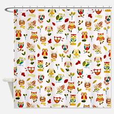 Owl Pattern Shower Curtain
