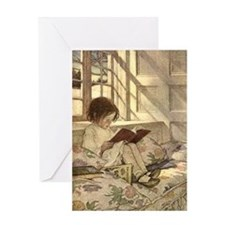 Vintage Books in Winter, Child Read Greeting Cards