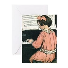 Vintage Child Playing the Piano Greeting Cards