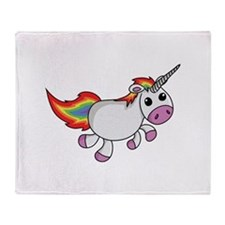 Cute Cartoon Unicorn Throw Blanket