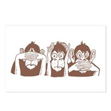 No Evil Monkeys Postcards (Package of 8)