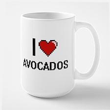 I Love Avocados digital retro design Mugs