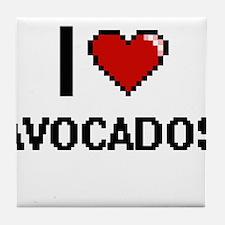 I Love Avocados digital retro design Tile Coaster