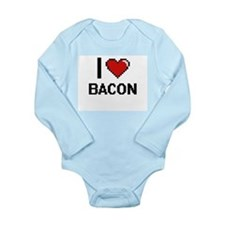 I Love Bacon digital retro design Body Suit