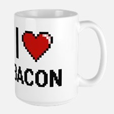 I Love Bacon digital retro design Mugs