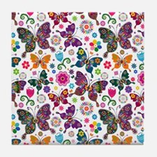 Colorful Retro Butterflies And Flower Tile Coaster