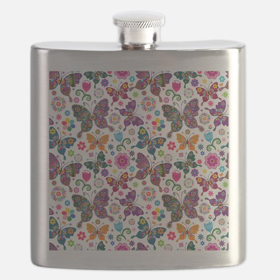 Colorful Retro Butterflies And Flowers Patte Flask