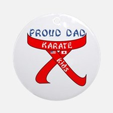 Proud Karate Dad Kids Ornament (Round)
