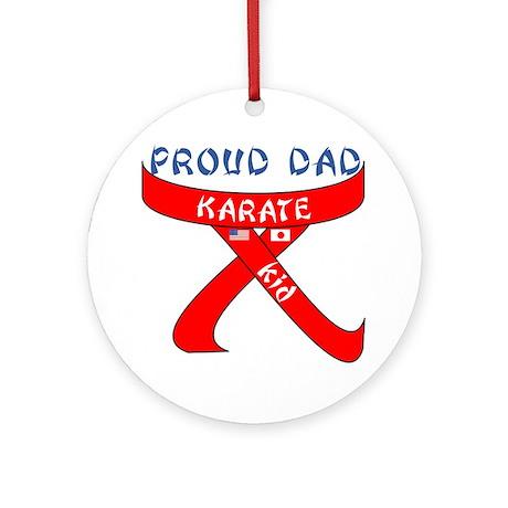 Proud Karate Dad Kid Ornament (Round)
