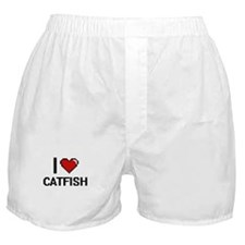 I Love Catfish digital retro design Boxer Shorts