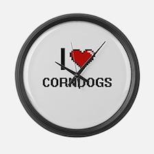 I Love Corndogs digital retro des Large Wall Clock