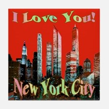 I Love You New York City Tile Coaster