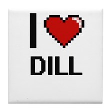 I Love Dill digital retro design Tile Coaster