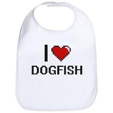 I Love Dogfish digital retro design Bib