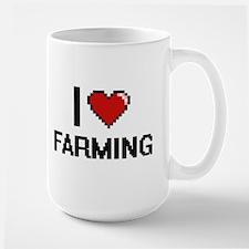 I Love Farming digital retro design Mugs
