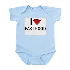 I Love Fast Food digital retro design Body Suit