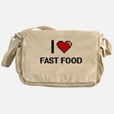 I Love Fast Food digital retro desig Messenger Bag