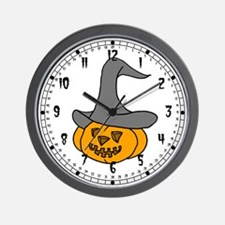 Pumpkin with Hat Wall Clock