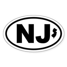New Jersey Map Oval Decal