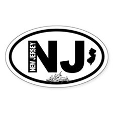 New Jersey Crossing and Map Oval Decal