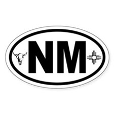 New Mexico Skull and Zia Oval Decal