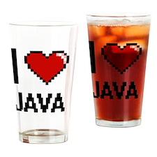 I Love Java digital retro design Drinking Glass