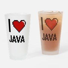 I Love Java digital retro design Drinking Glass