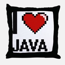 I Love Java digital retro design Throw Pillow