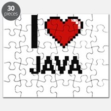 I Love Java digital retro design Puzzle