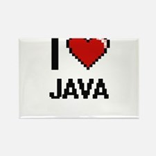 I Love Java digital retro design Magnets