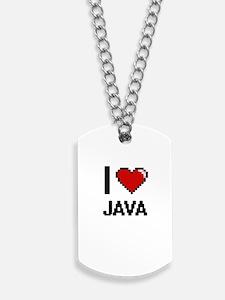 I Love Java digital retro design Dog Tags