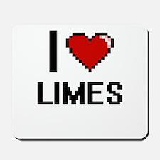I Love Limes digital retro design Mousepad