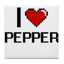 I Love Pepper digital retro design Tile Coaster