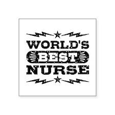 """World's Best Nurse Square Sticker 3"""" x 3"""""""