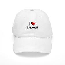 I Love Salmon digital retro design Baseball Cap
