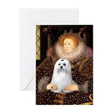 Queen & Her Maltese Greeting Card