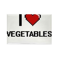 I Love Vegetables digital retro design Magnets