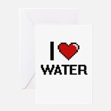 I Love Water digital retro design Greeting Cards