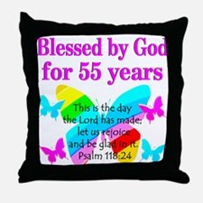 BLESSED 55 YR OLD Throw Pillow
